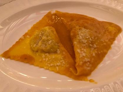 Tortelli di zucca con crema di zucca e Parmigiano Reggiano di Quistello