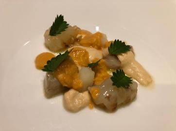 Mazzancolla, anguria bianca, acqua di arachidi