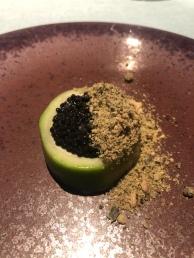 Zucchina cucuzza ripiena di panna cotta alla mandorla, caviale di aringa, semi di zucca e wasabi
