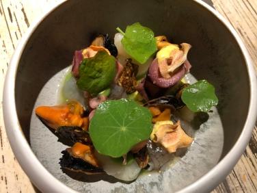 Insalata russa di pesce con maionese alle alghe, polpo, uova di seppia, cicala di mare, cozze e verdure chips