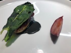 Foie gras, speck d'anatra, umeboshi, bietola